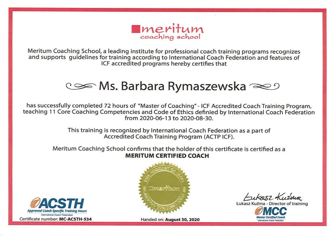 dyplom szkolenia coachów - maritum actp icf